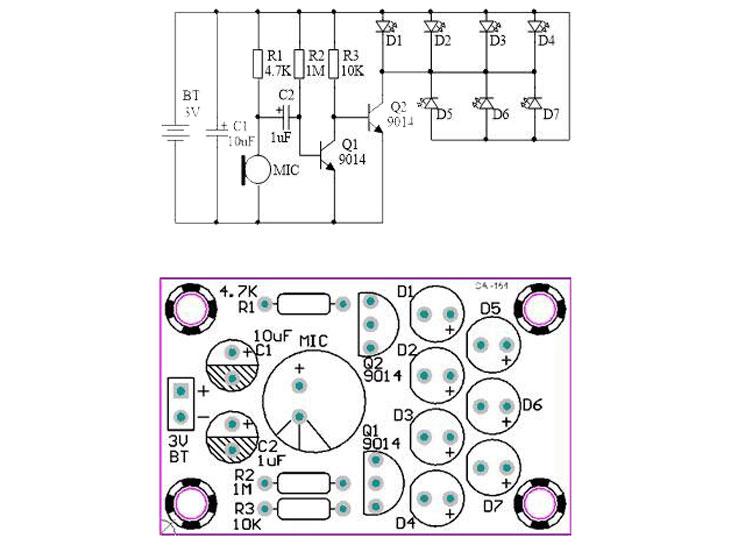 Wskaźnik LED z mikrofonem zestaw do samodzielnego montażu KIT/DIY BTE-983 BTE983