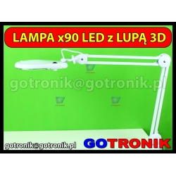 Lampa z lupą 3D (3 dioptrie) 90LED