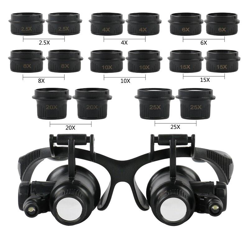 Okulary serwisowe wymienne soczewki 8par + oświetlenie LED