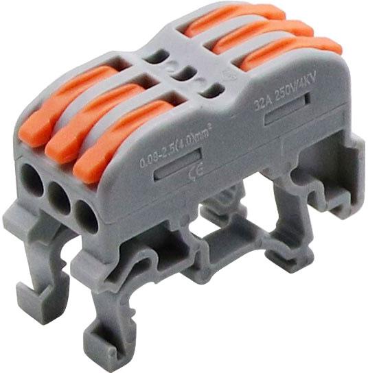 PCT-222D listwa zaciskowa 3 torowa na szynę DIN TS35 złączka szynowa PCT222D