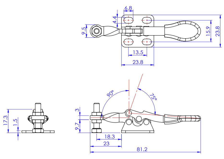 ścisk szybkomocujący - poziomy zacisk mocujący GH-201-A docisk ścisk zacisk szybkomocujący 27kg
