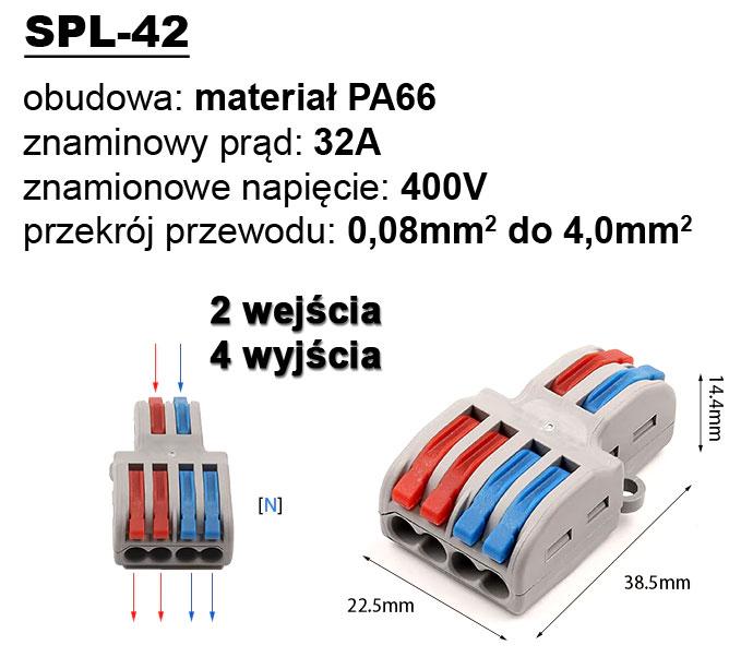 SPL-42 szybkozłącze kostka elektryczna rozgałęźnik zasilania SPL42