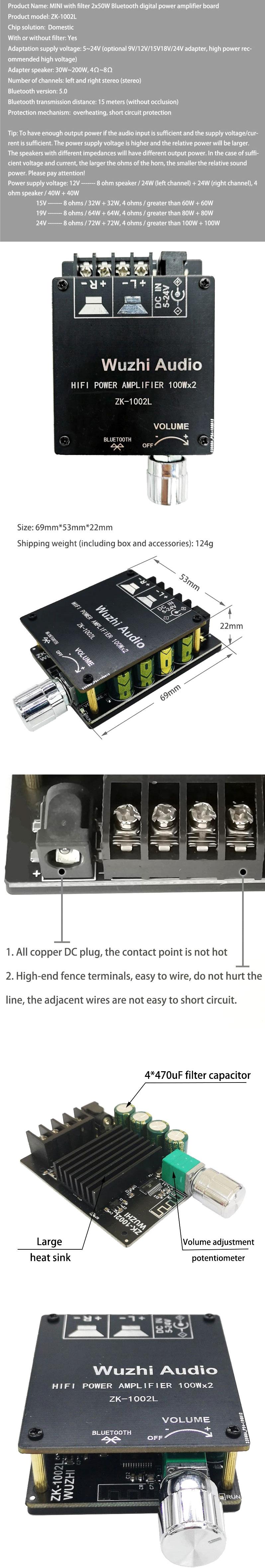 Wzmacniacz audio 2 x 100W TPA3116 + Bluetooth 5.0 Wuzhi ZK-1002L BTE-979 BTE979
