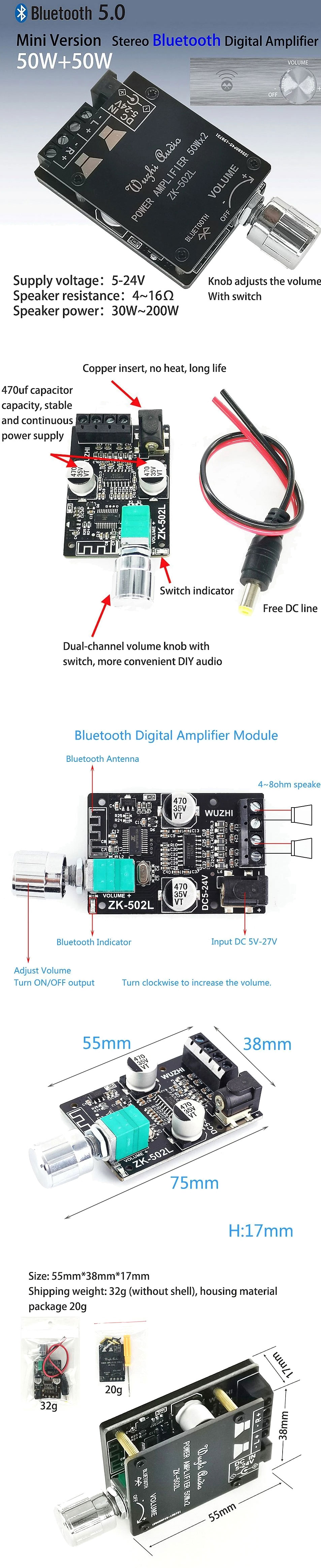 Wzmacniacz audio 2 x 50W TPA3116 + Bluetooth 5.0 Wuzhi ZK-502L BTE-972 BTE972